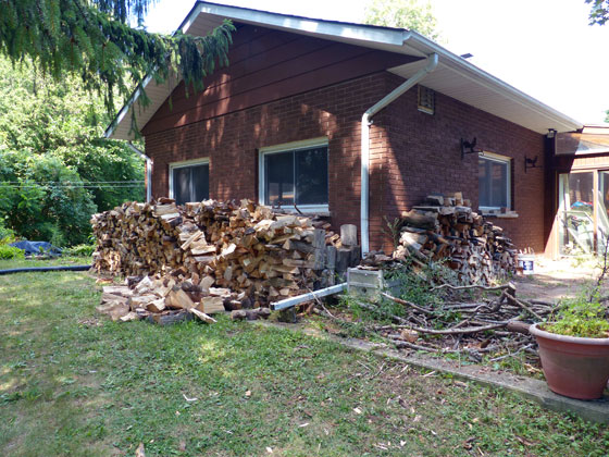 Collapsed firewood piles