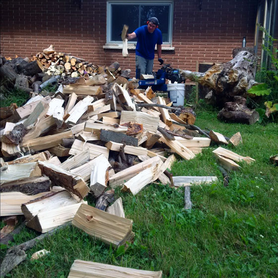 Matt splitting firewood