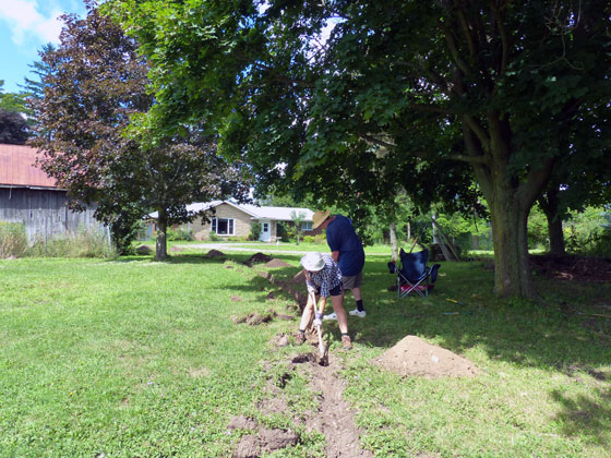 Trenching a waterline to the garden