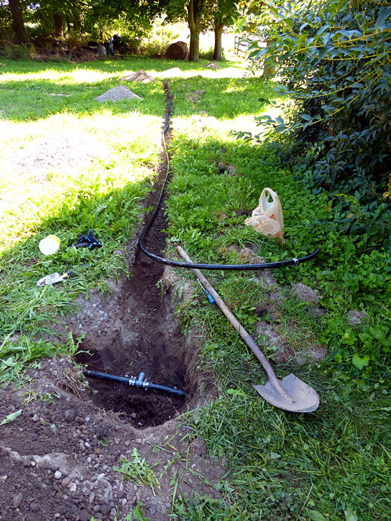Running a waterline for a garden hose
