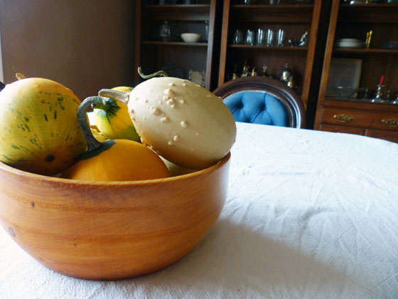 Gourds in a wooden bowl