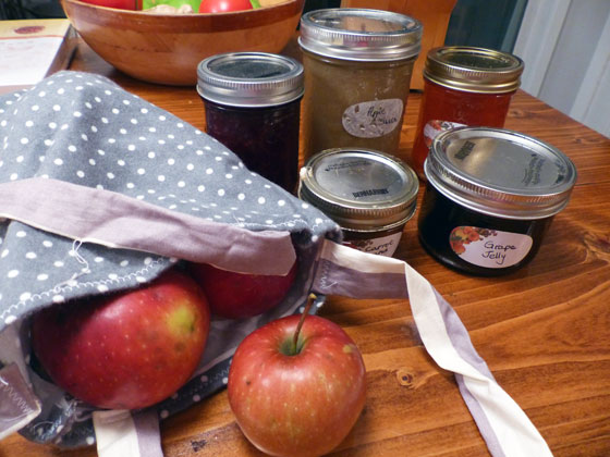 Preserves and homegrown apples