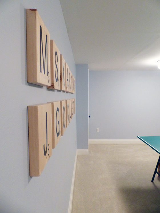 Oversize scrabble tiles as art in the game room