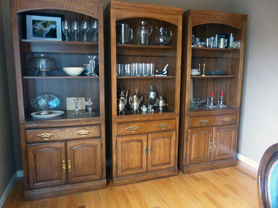 90s bookcases as china cabinet