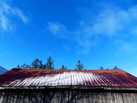 First snow on the barn roof