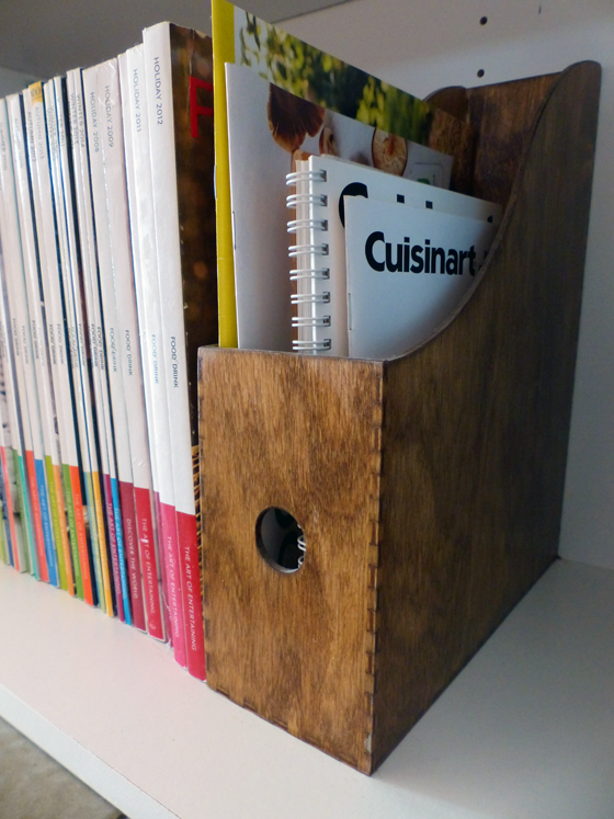Wood magazine holder