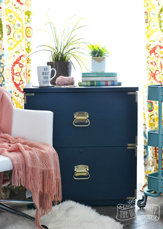 Turquoise and brass file cabinet from DIY Mommy