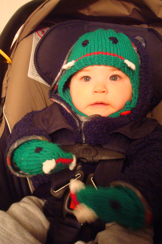 Knitted crocodile hat and mitts