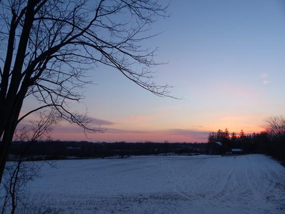 Winter sunset over the farm
