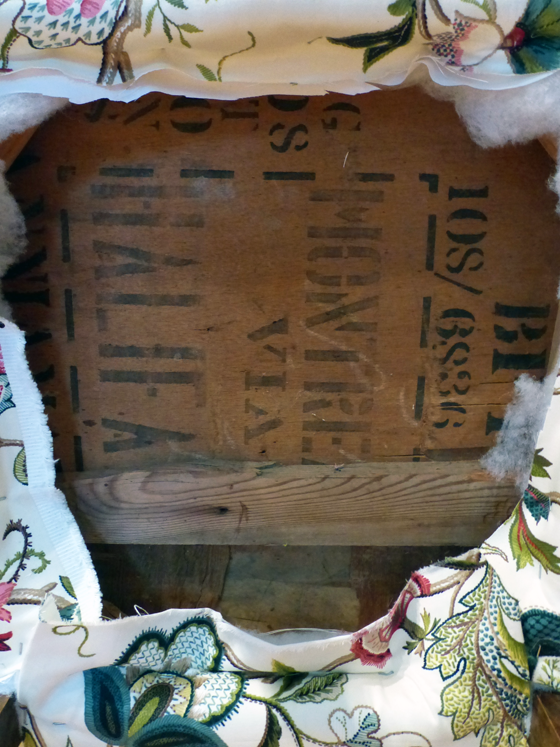 Stamped wood on the underside of the vintage slipper chair