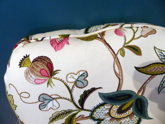 Slipper chair upholstered in Brissac Jewel by P Kaufmann Fabric