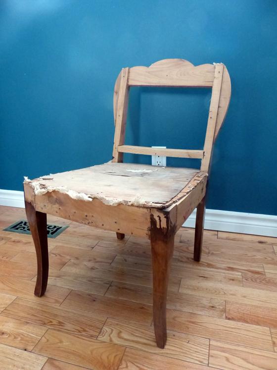 Wood frame of a slipper chair