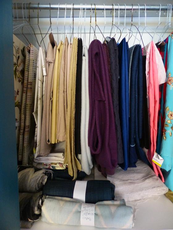 Fabric stash hanging in the closet