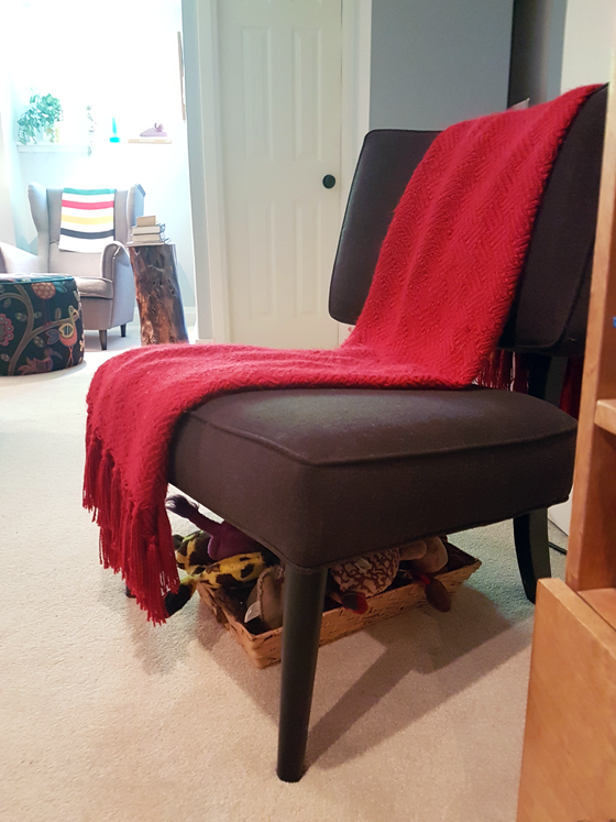 Chair with red throw