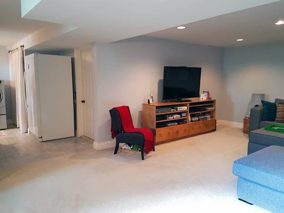 Basement TV area after