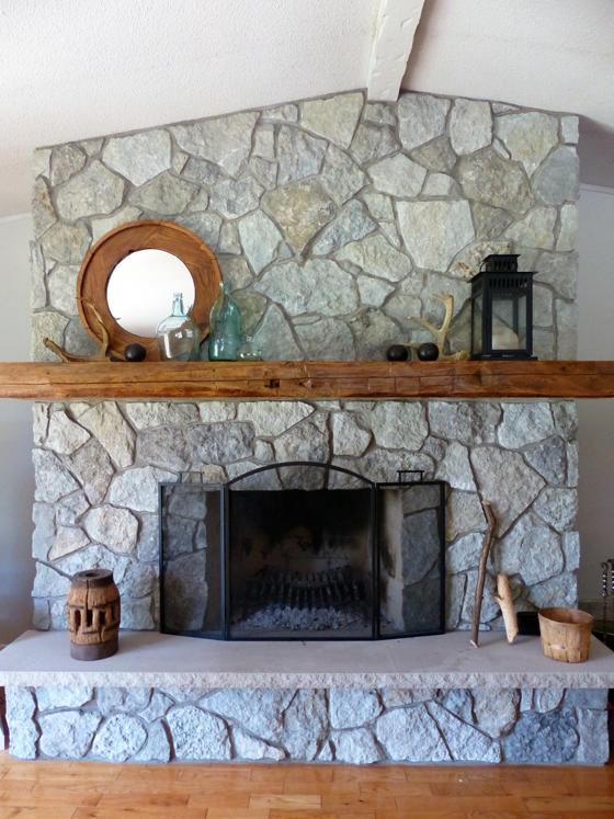 Fieldstone fireplace in the summer
