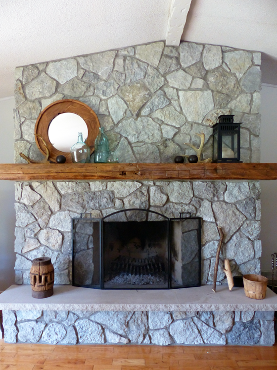 Fieldstone fireplace in the summer