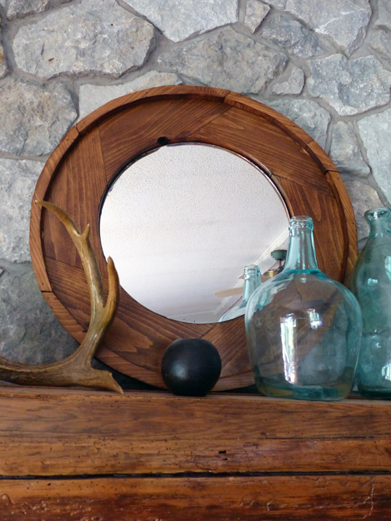 Large round wood frame mirror