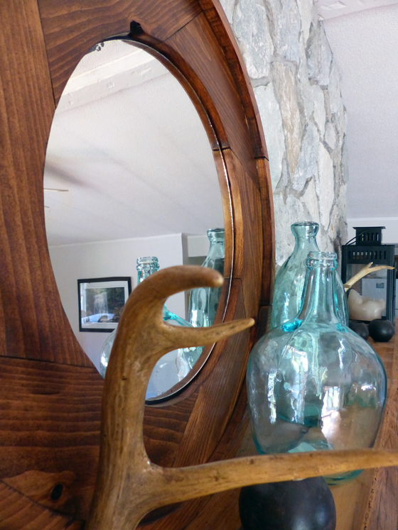 Large round wood frame mirror