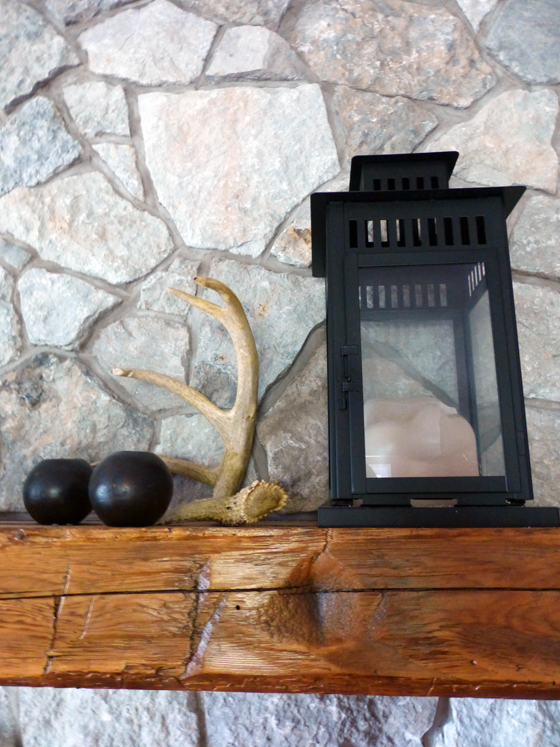 Decorating our mantel with a lantern and antler