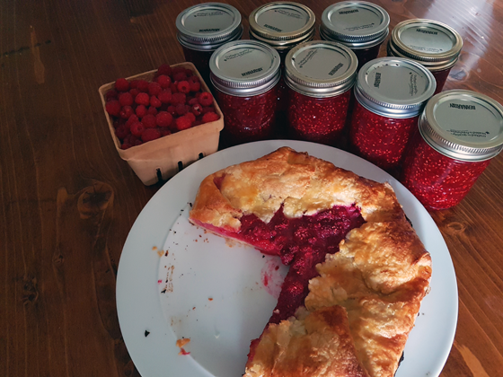 Raspberry galette and jam