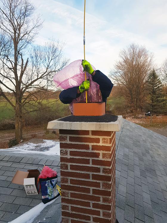 Cleaning the chimney