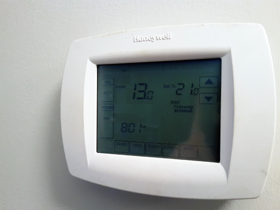 Thermostat showing 13 degrees