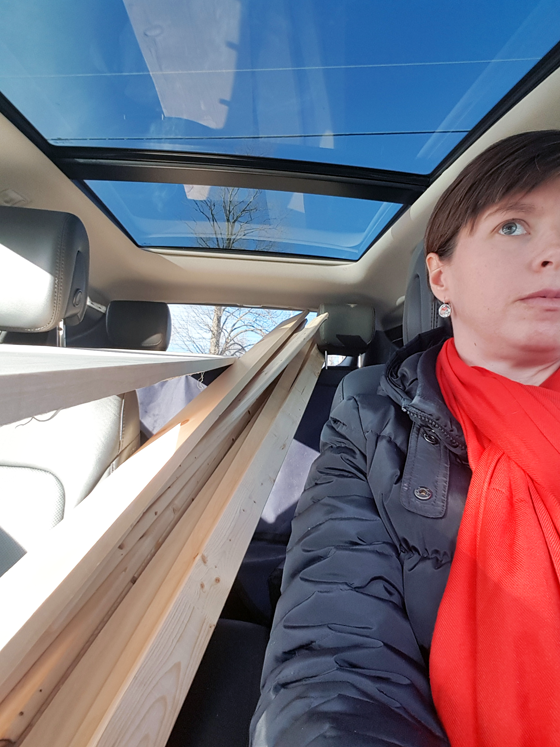 Car loaded with lumber