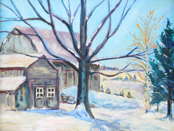 Painting of farm in winter
