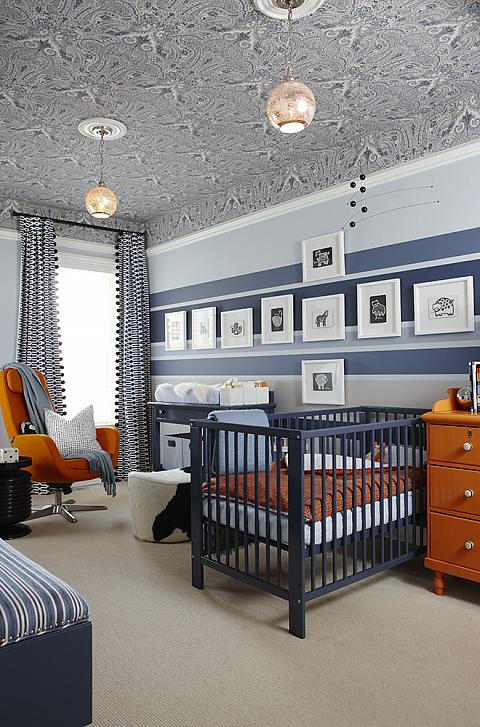 Orange and blue nursery by Sarah Richardson