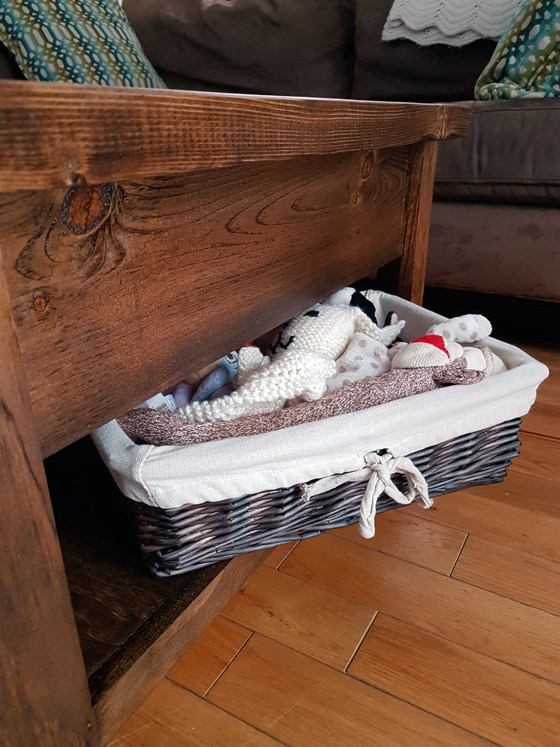 Toy storage under the coffee table