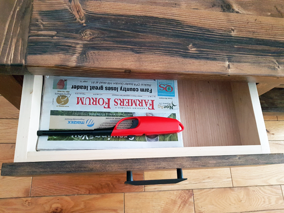 Drawers on the coffee table