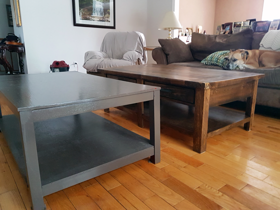 Comparing our old and new coffee tables