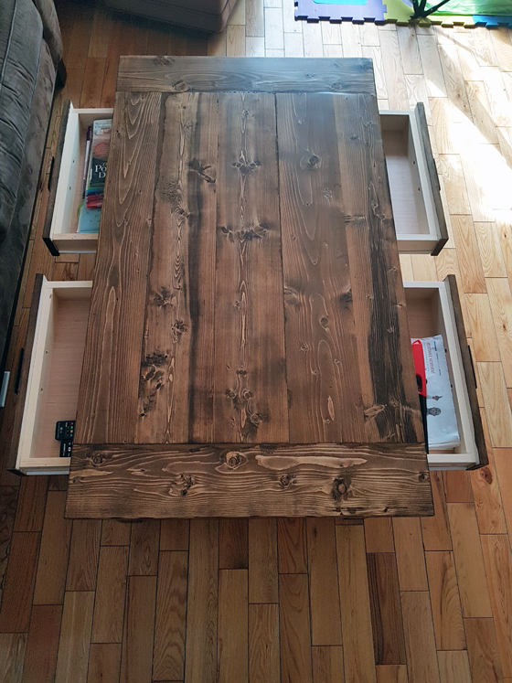 DIY Benchwright Coffee Table with four drawers