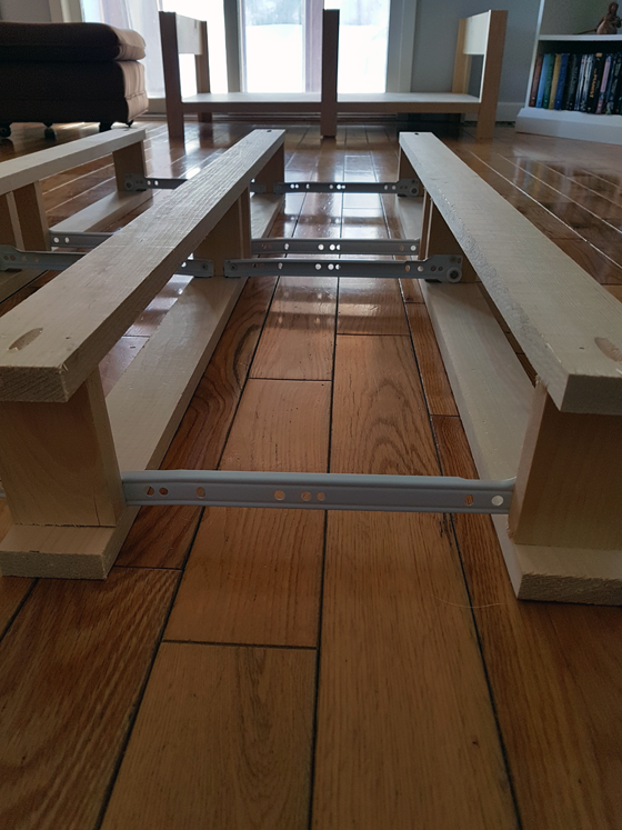 Benchwright coffee table drawer frames