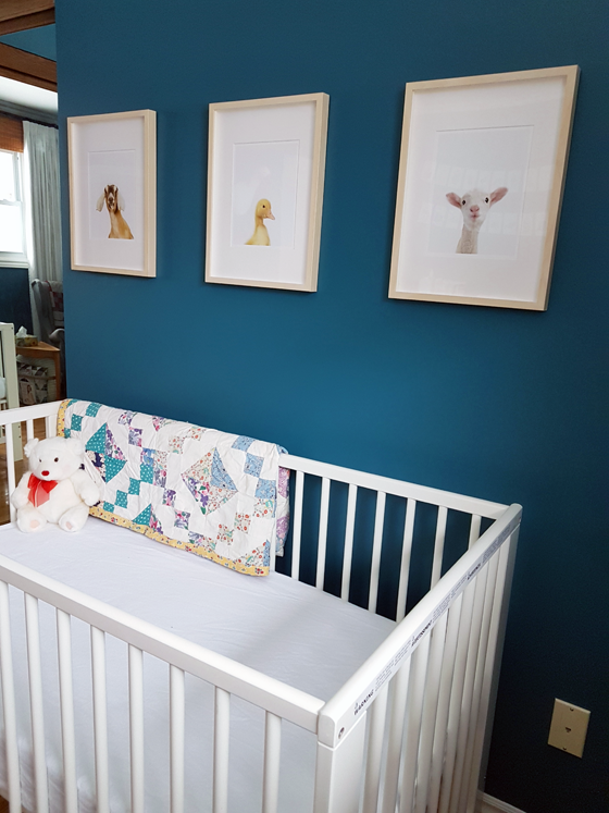 Animal portraits in a turquoise gender neutral nursery