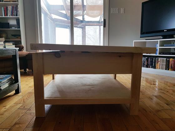 Warped coffee table top