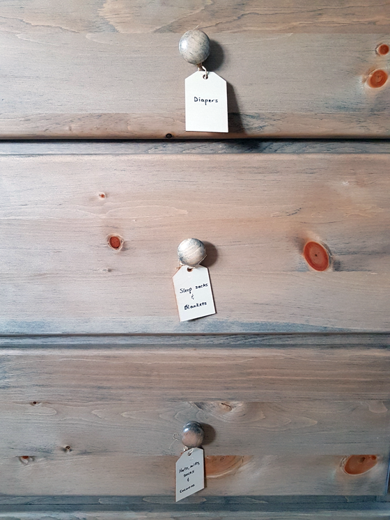 Wood tags to label dresser drawers