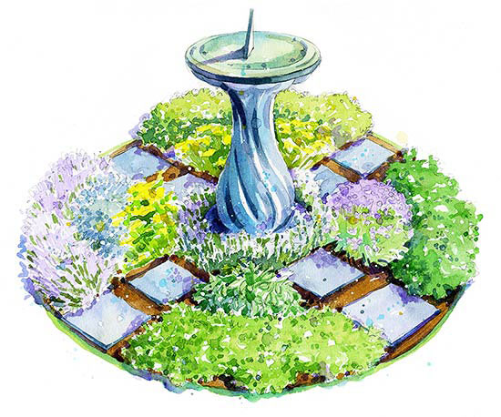 Herb garden with a fountain in the centre