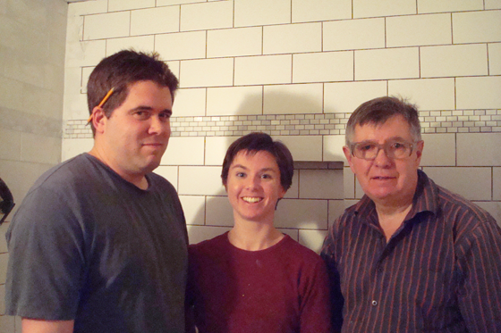 Matt, Dad and me tiling the basement bathroom