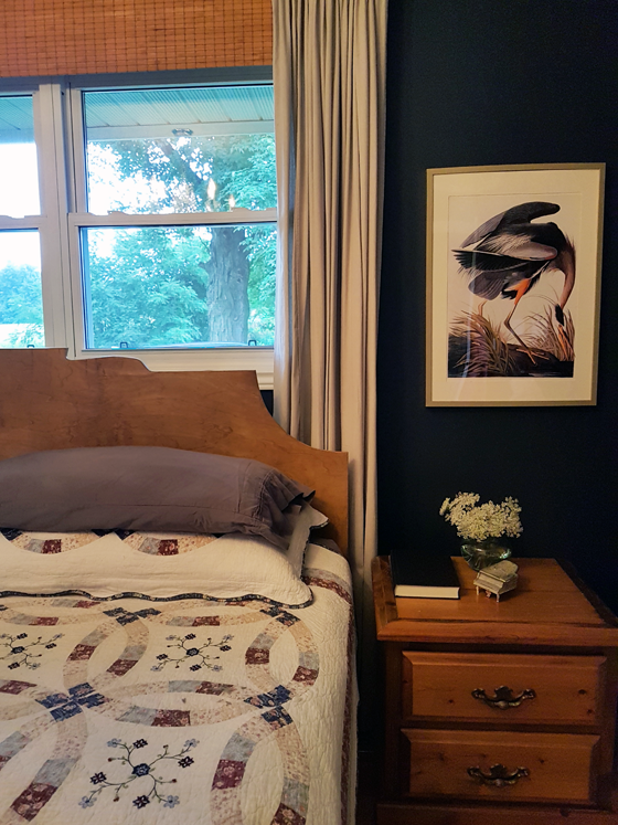 Audubon print of a heron in my bedroom