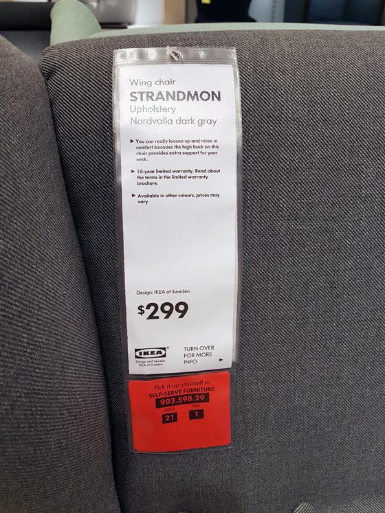 Ikea Strandmon pricetag