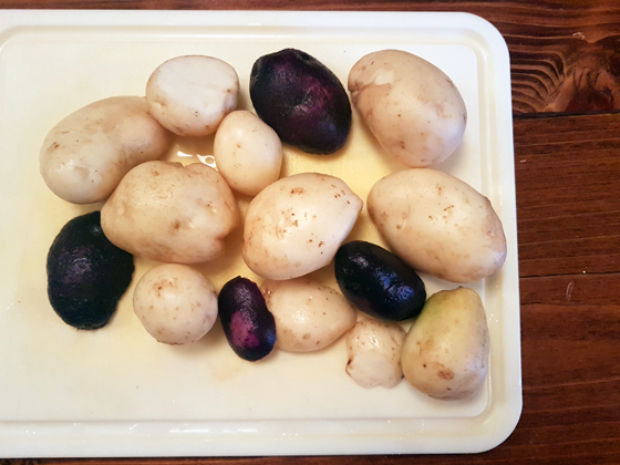 White and purple potatoes on the cutting board