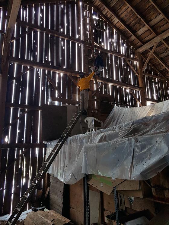 Climbing inside the barn
