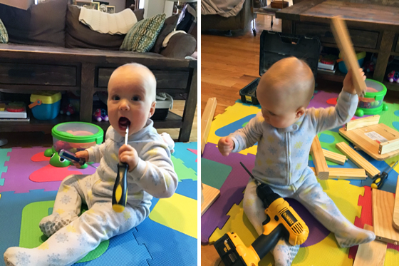 Baby playing with screwdriver and drill