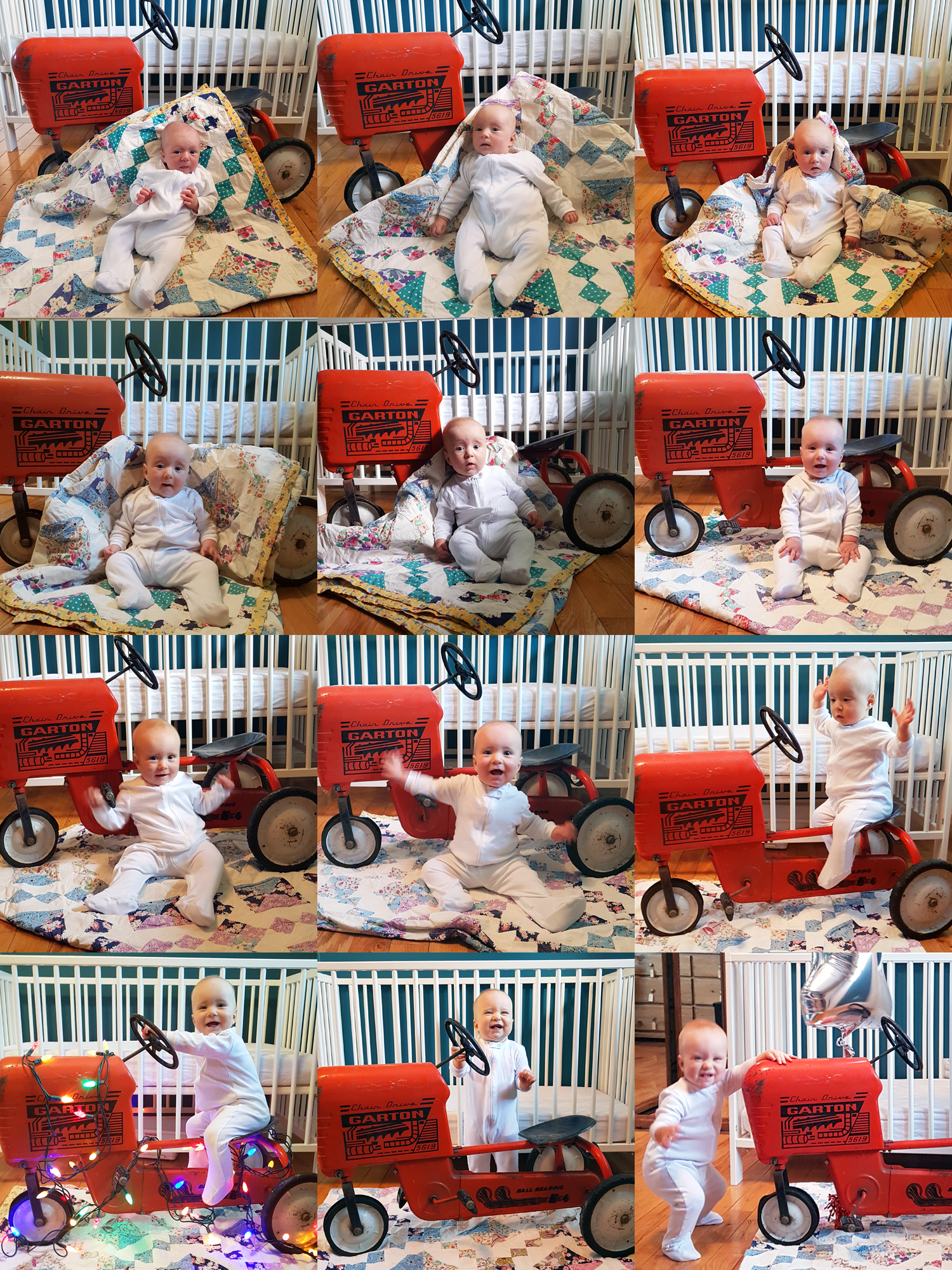 Collage of 12 months of baby photos