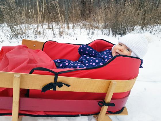 Ellie in her sleigh