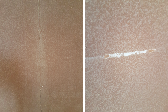 Cracks and scratches in drywall