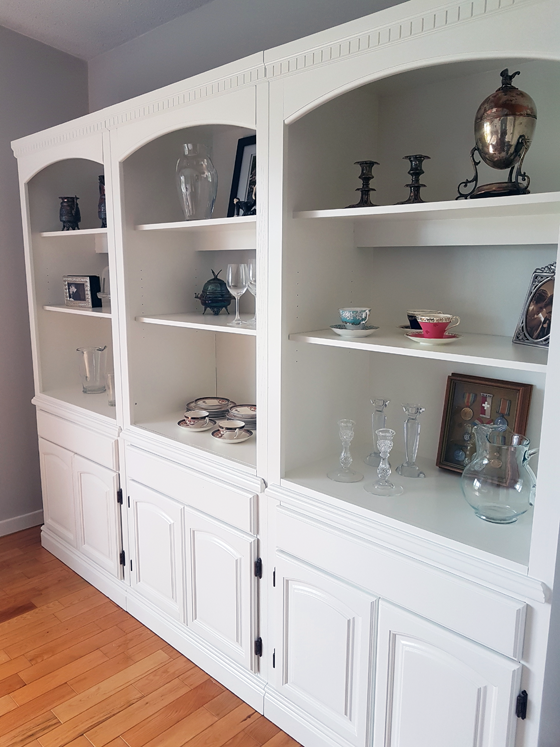 Vintage shelving unit used as a china cabinet