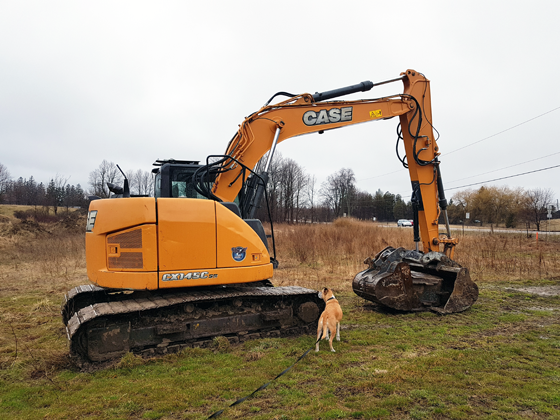 Baxter surveys the backhoe